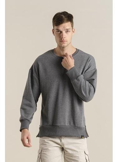 Oksit Crash Cegg Fermuar Detaylı Oversize Sweatshirt Füme